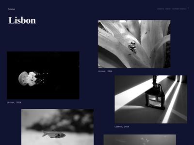 Photo gallery - Lisbon, Portugal clean web design website ui dark sea photos random layout gallery photography