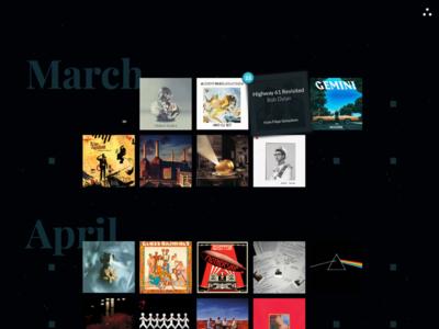 Jukebox calendar layout sound grid calendar visual design interface design ui frontend web design music jukebox artists album