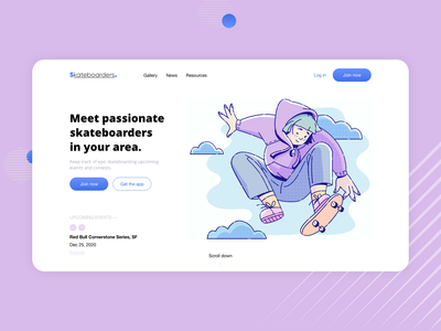 Skateboarders. Landing Page uxdesign illustration minimal ui design ui colorful design