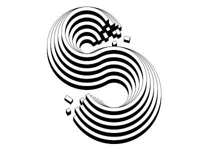 S geometric typography lettering design s