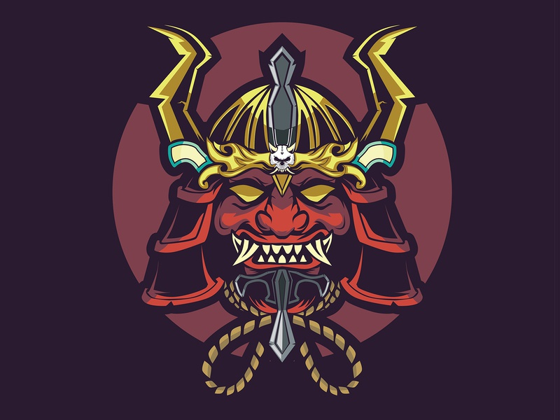 SHOGUN SAMURAI MASK kabuto tengu war sword horn design skull head mascot fight shirtdesign shirts samurai katana warior ancient japanese japan