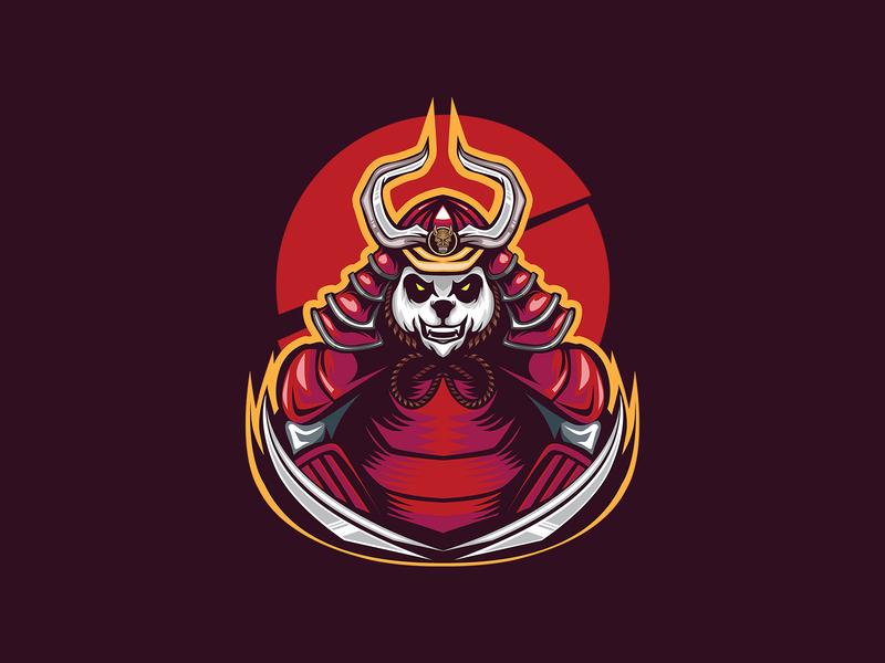 PANDA SAMURAI T SHIRT ILLUSTRATION panda logo fight animal angry shirtdesign tshirts warior war