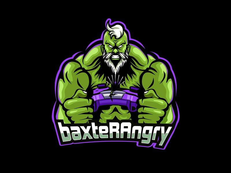 BAXTERANGRY OLD HULK MASCOT LOGO streamer purple green old angry pcgames ps4 xbox controller sticker gaming esports esport logo mascot
