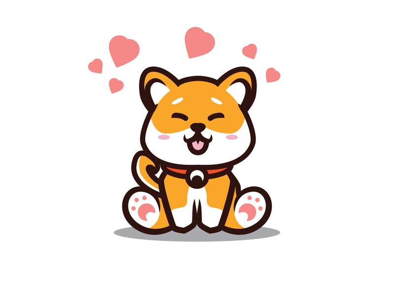 CUTE SHIBA INU SITTING WITH LOVE orange chubby kid kids cute animals logo design cute illustration cute animal cute art japan japanese breed shiba inu shibainu shiba mascot dogs dog