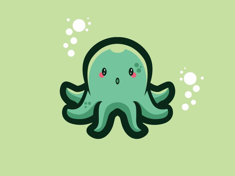 CUTE-TOPUS CUTE ANIMAL clean cute illustration squid animal vector branding logo illustration design mascot sea life octopus cute art cute animal