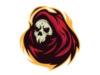 RED GRIM REAPER aggressive skull angry esports logo esportslogo esports graphicdesign graphic mascotlogo mascot death reaper grim reaper