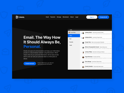 Dmail - Peer to peer emailing system minimal app ui branding website zensite uiux simple email marketing blue dark email design email