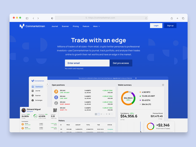 Coinmarketman Concept landing page dashboard zensite simple minimal cryptocurrency crypto