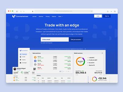 Coinmarketman Concept app illustration blue landing branding website simple minimal zensite landingpage cryptocurrency crypto