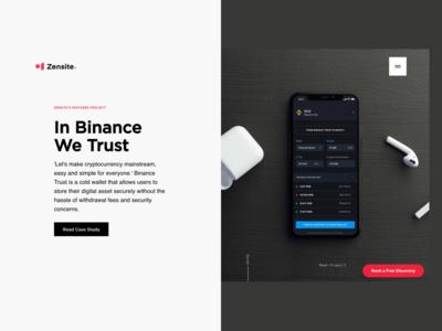 Zensite Landing Page Featuring Binance