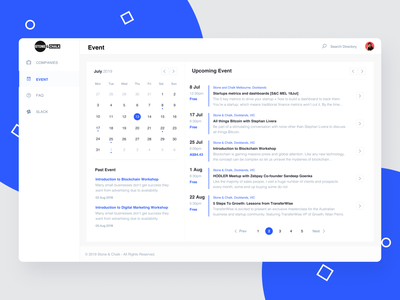 Events For Stone and Chalk app web icon coworking space business design workshop booking event planning calander admin vector ux branding blue uiux ui simple minimal
