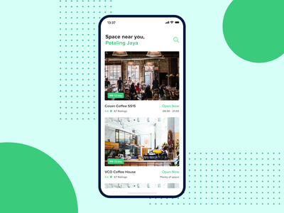 Cafe Booking App - Real Project icon typography web green design ui blue branding uiux landing simple minimal