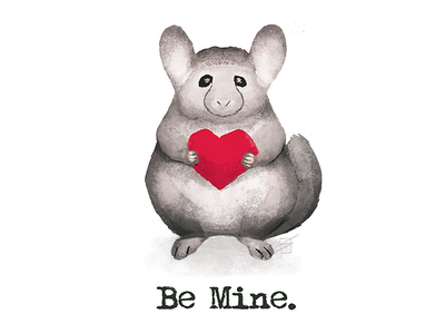 Be Mine illustration cartoon card chinchilla valentines