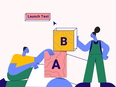 What goes into an A/B test conversion rate optimisation characters illustration saas website blog image b2b website experimentation ab testing