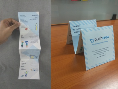 Brochure website notification white blue conferece pushcrew folds brochure