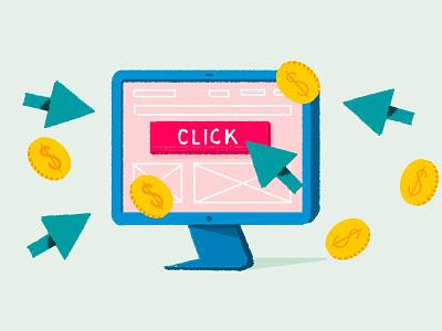 beginners guide to paid marketing web illustraion graphic money roi clicks marketing