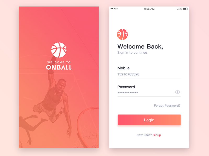 Loading/Login page mobile ui basketball,sports,login,loading