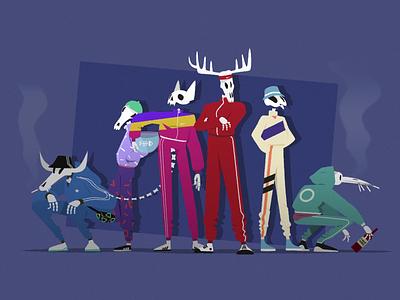 Halloween Tracksuit Crew zombies motiongraphics animento character loop design zombie 90s gang trap gif illustraion 2d art animation animals skeleton tracksuit squat gopnik halloween