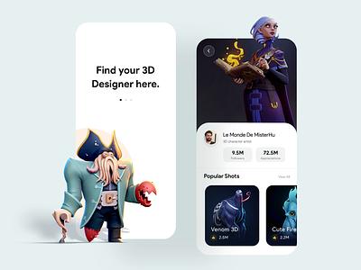 Find 3D Artist UI Concept dribbble best shot application find artist 3d art mobile animation color clean uiux uidesign ui concept 3ddesign aftereffects video game gif animation design 3d artist 3d