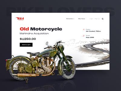 BSA home page banner design popular dribbble oldbike home screen bikers bikes motorbike landingpage page ui color banners homepage