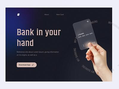 Banking   Landing Page weeklywarmup trending landingpage webdesign design dribbble best shot card design banking glassmorphism