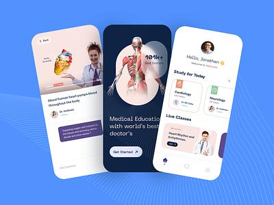 Medical Education App ui live uxdesign uiux doctor medical home onboarding ui glassmorphism trending uidesign education app