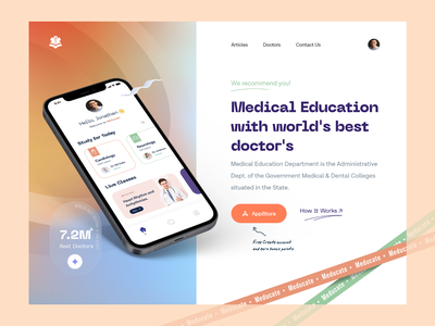 Medical Education - Web Header webdesigner clean hero section minimal doctor medical cocept uiuxdesign webdesign