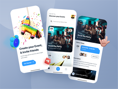 Event Mobile app theme party brand ux design uidesign card design element color card join booking event app event