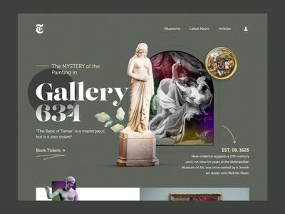 Museum Gallery 634 clean uiux graphics herosection heropage statue mistery museumtoto color museum of art webdesign web