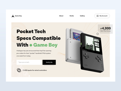 Pocket Game | Web Design device game pocketgame uidesign webdesign herosection heropage webheader website