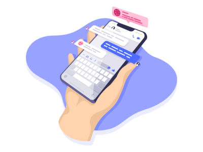 Hello Dribbble! message notification phone hand debut first shot vector illustration