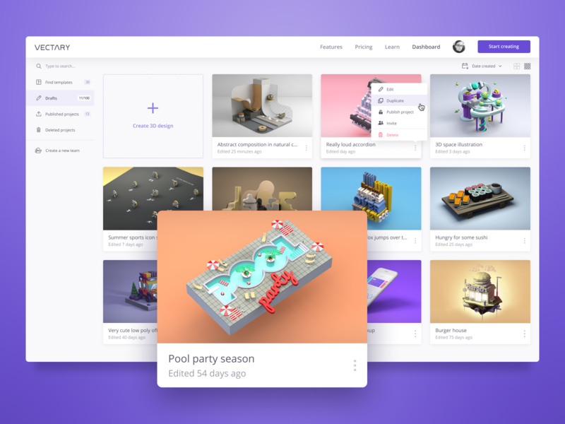 Vectary - Dashboard dash board website design web vectary 3d design 3d cards ux ui dashboard