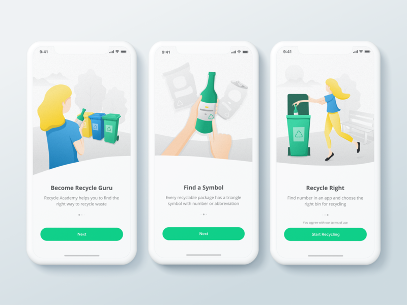 Onboarding illustrations for Recycle Academy App waste enviromental recycling vector onboarding onboarding illustration illustraion