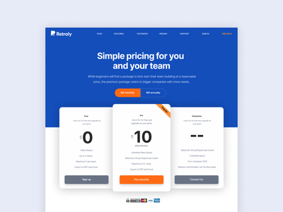 Retroly Pricing pricing plan pricing table pricing page