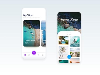 Travel photos clean ux app ui beach