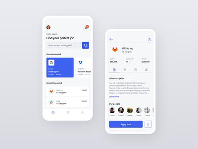 Job portal App design system freebie mobile job app