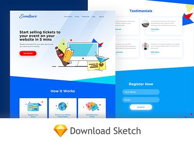 Eventsure Landing Page sketch website freebies