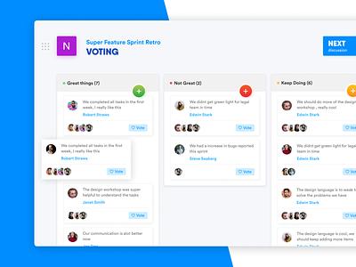 Retro colorful retro trello voting chat board