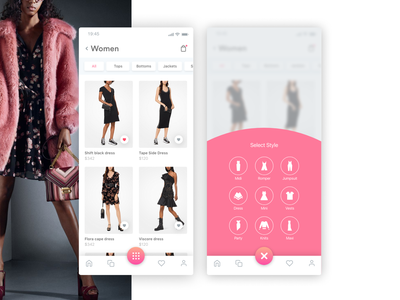 Fashion Elegant elegant style floating action button action button store shopping pink clean mobile