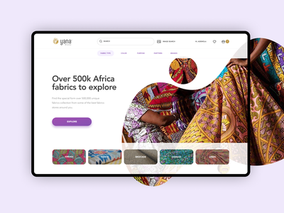 Yana Mode landing page white clean design app akara fabric