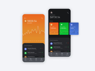 cryptocurrency data clean dark app dark ui crypto wallet cryptocurrency bitcoin