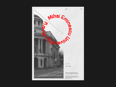Mihai Eminescu University Library library monument iasi romania blackandwhite posterdesign design poster