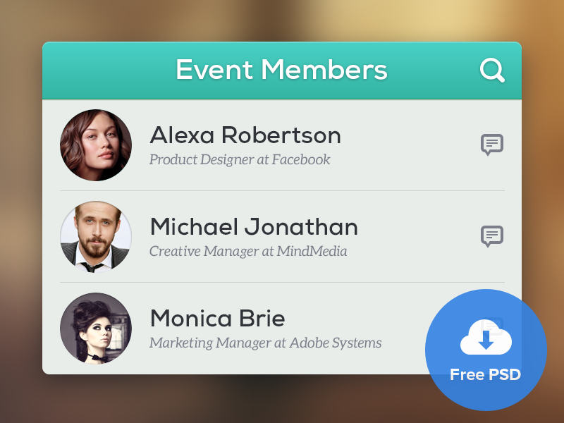 Event Members - Free PSD free psd ui user interface members rounded avatars photoshop