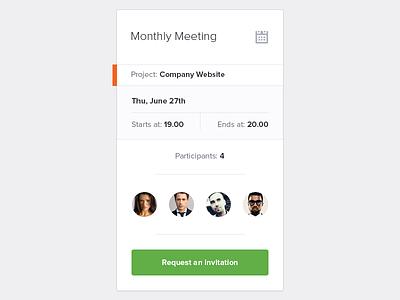 Meeting Widget ui clean user interface ux meetings app mobile desktop