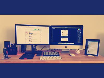 Home workspace workspace designer imac ipad iphone energy drink tablet