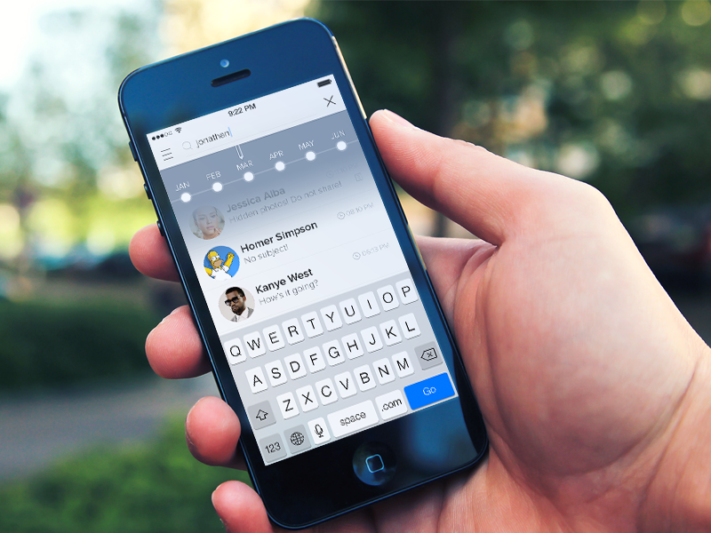 Searching through inbox ui user interface ios ios7 app search clean flat modern