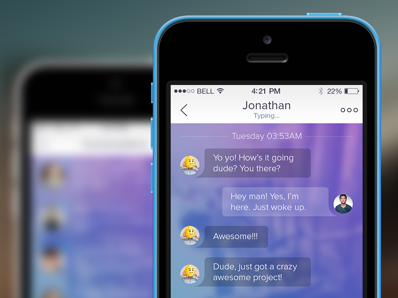 Chat app ios ios7 iphone iphone app ui mobile ui conversation chat