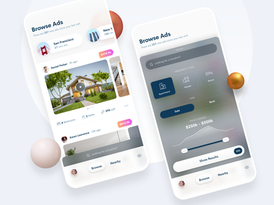 Real Estate App clean mobile ui mobile design mobile app mobile user interface design userinterface ui properties houses filters search realestate figma ios design ios 14 iosapp ios app design app