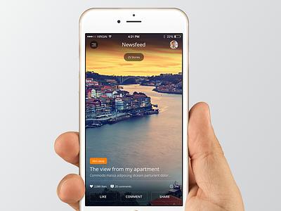 Newsfeed app ios ios8 iphone 6 newsfeed social photo ui user interface mobile design ux user experience