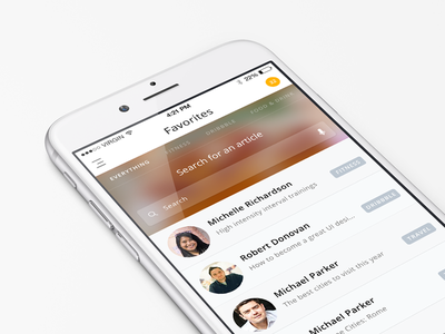 Favorite Articles app app design ios ios app browse articles mobile ui user interface ux user experience